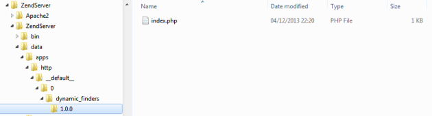 Lokasi deployment di Zend Server